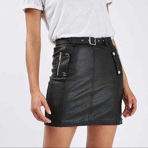 Topshop Belted Popper Zip PU Leather Skirt